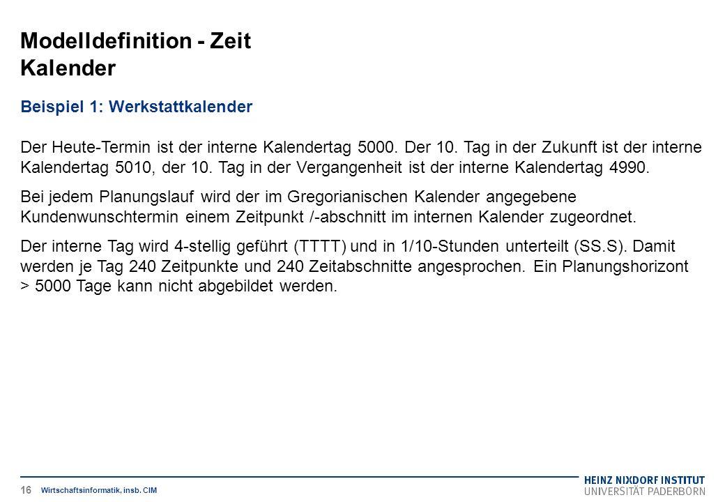 Modelldefinition - Zeit Kalender Wirtschaftsinformatik, insb. CIM Beispiel 1: Werkstattkalender Der Heute-Termin ist der interne Kalendertag 5000. Der