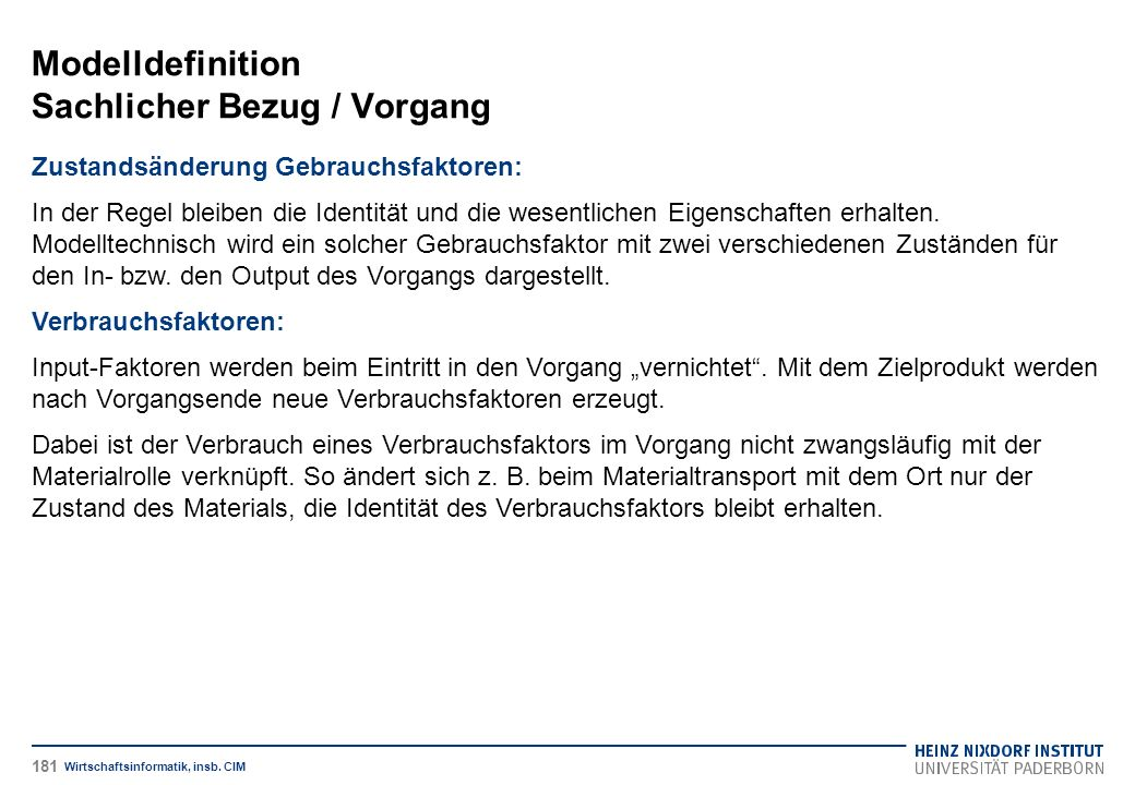 Modelldefinition Sachlicher Bezug / Vorgang Wirtschaftsinformatik, insb.