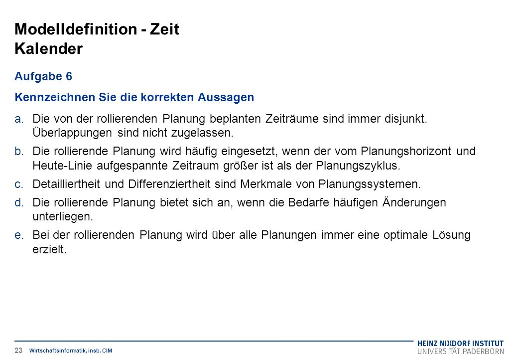 Modelldefinition - Zeit Kalender Wirtschaftsinformatik, insb.
