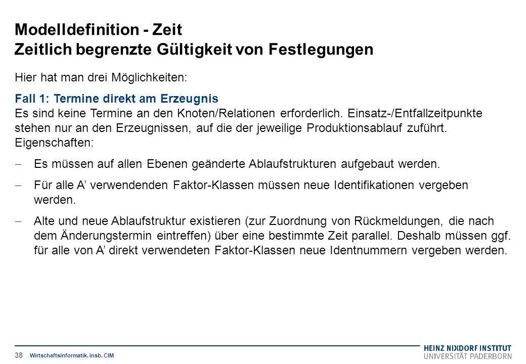 Modelldefinition - Zeit Zeitlich begrenzte Gültigkeit von Festlegungen Wirtschaftsinformatik, insb.
