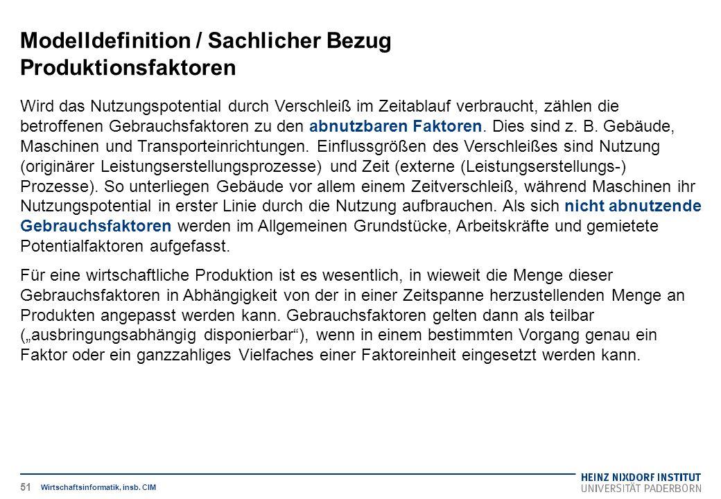 Modelldefinition / Sachlicher Bezug Produktionsfaktoren Wirtschaftsinformatik, insb.