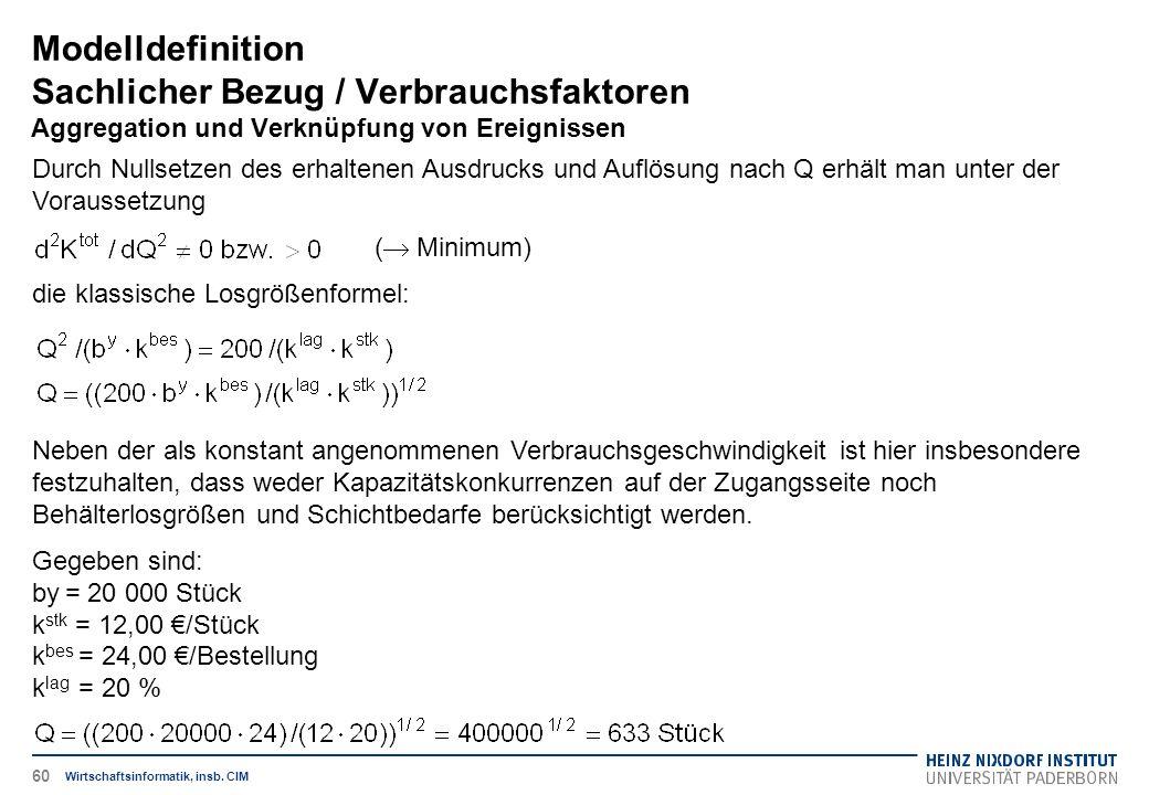 Modelldefinition Sachlicher Bezug / Verbrauchsfaktoren Aggregation und Verknüpfung von Ereignissen Wirtschaftsinformatik, insb. CIM Durch Nullsetzen d