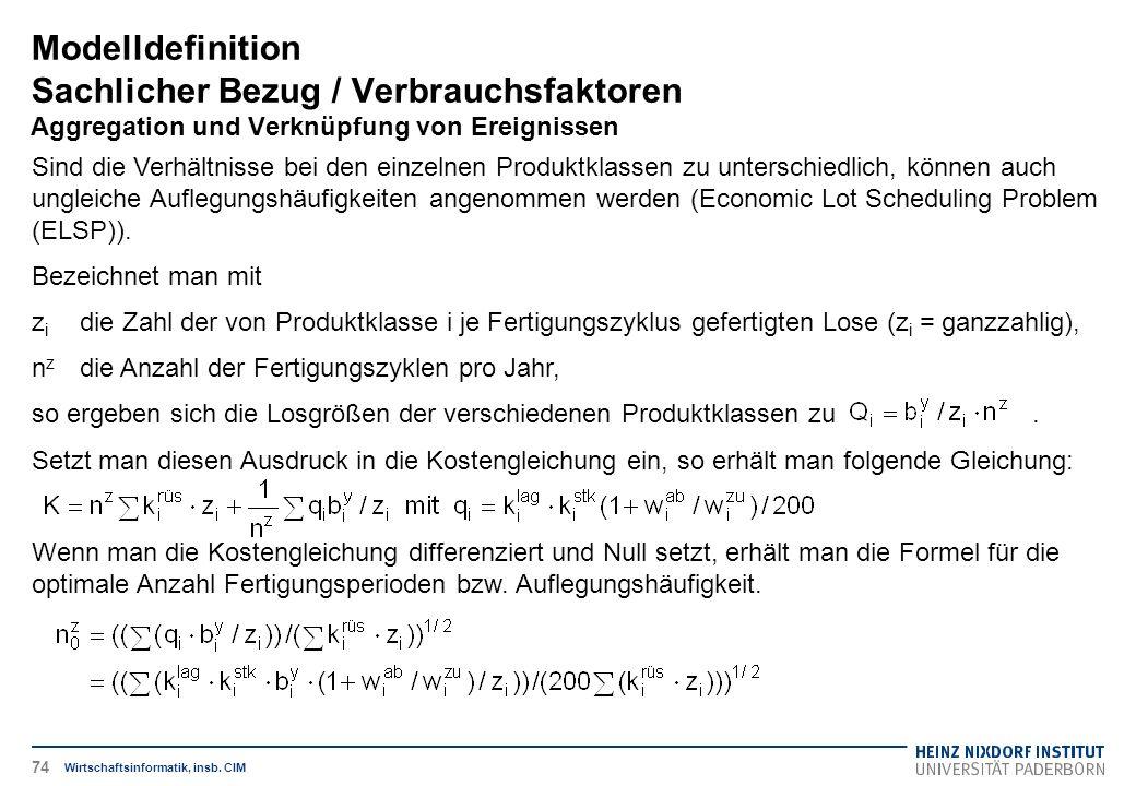 Modelldefinition Sachlicher Bezug / Verbrauchsfaktoren Aggregation und Verknüpfung von Ereignissen Wirtschaftsinformatik, insb. CIM Sind die Verhältni