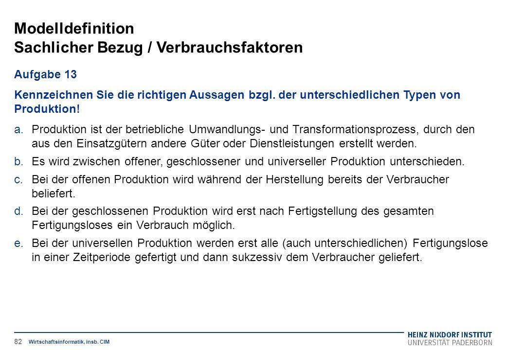 Modelldefinition Sachlicher Bezug / Verbrauchsfaktoren Wirtschaftsinformatik, insb.