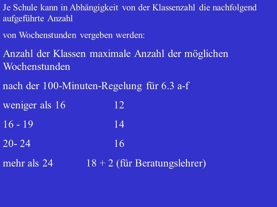 6.2 Unterrichtsdifferenzierung Eine Differenzierung des Unterrichts ist nur in den Fächern der Abschlussprüfung möglich. Die Beschränkung auf maximal