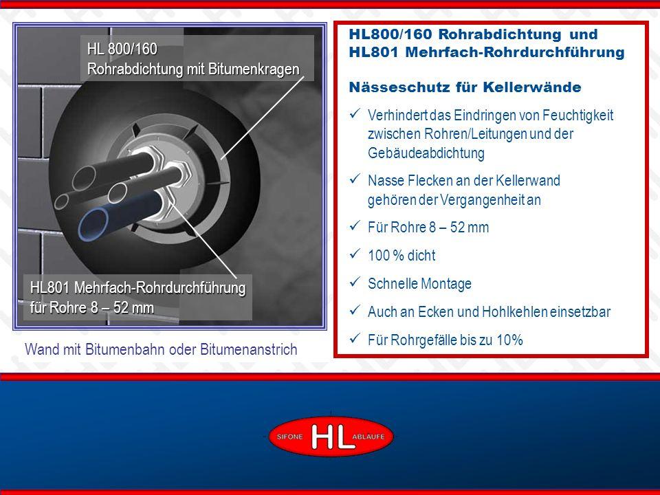 www.hutterer-lechner.com Wand mit Bitumenbahn oder Bitumenanstrich HL 800/160 Rohrabdichtung mit Bitumenkragen HL800/160 Rohrabdichtung und HL801 Mehr