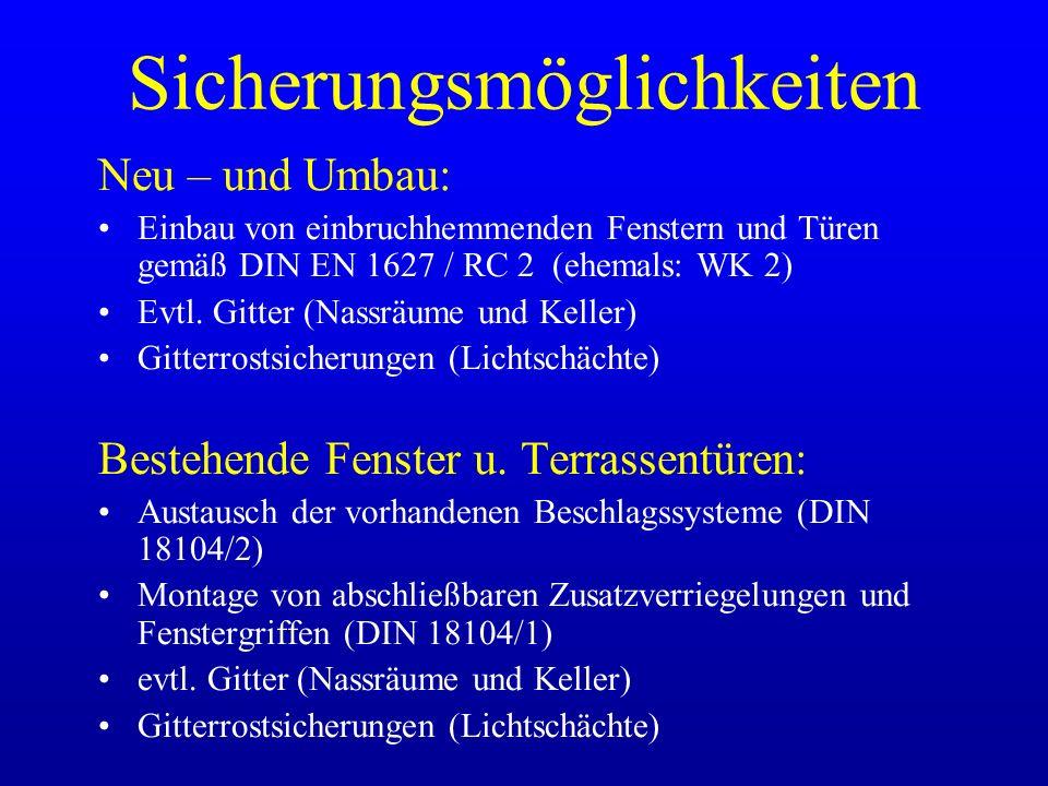 Sicherungsmöglichkeiten Neu – und Umbau: Einbau von einbruchhemmenden Fenstern und Türen gemäß DIN EN 1627 / RC 2 (ehemals: WK 2) Evtl. Gitter (Nassrä