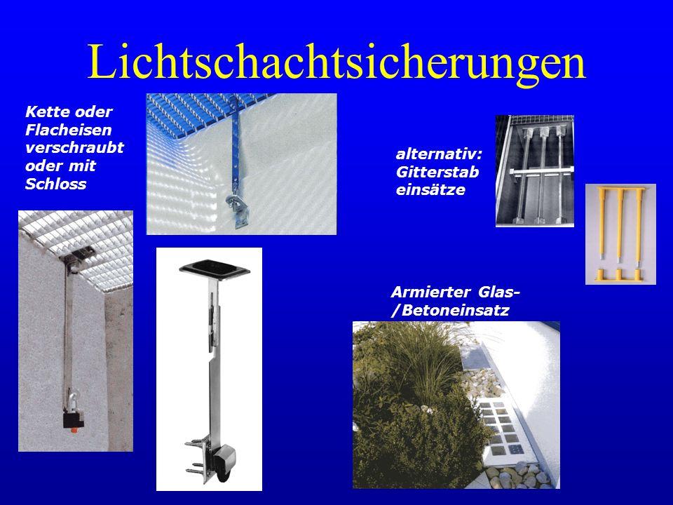 Lichtschachtsicherungen Kette oder Flacheisen verschraubt oder mit Schloss Armierter Glas- /Betoneinsatz alternativ: Gitterstab einsätze