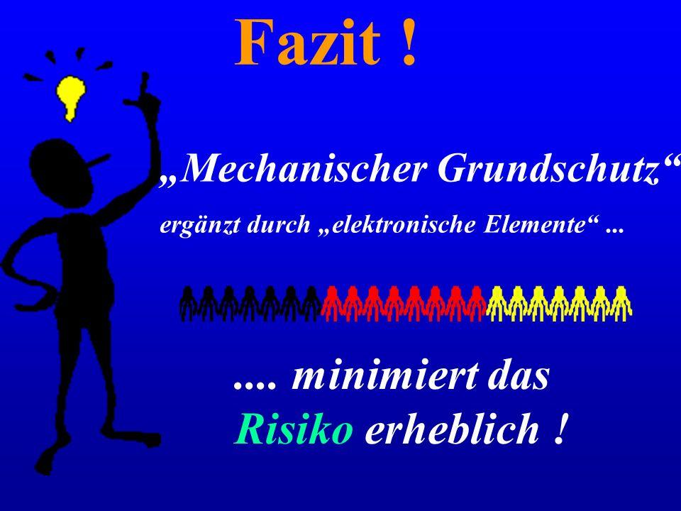 """Fazit ! """"Mechanischer Grundschutz"""" ergänzt durch """"elektronische Elemente""""....... minimiert das Risiko erheblich !"""