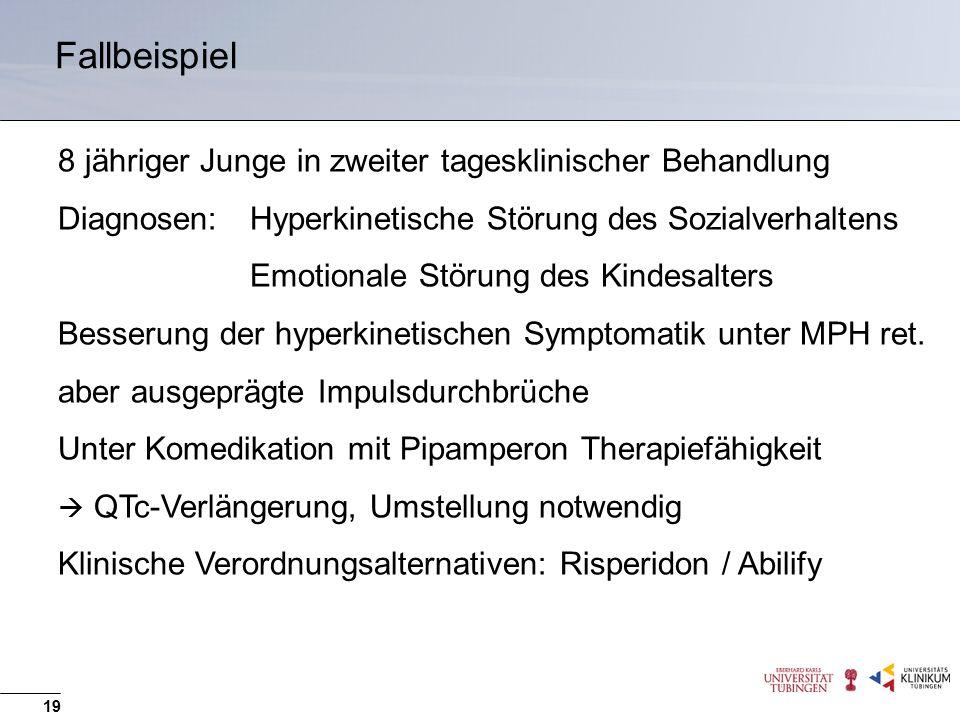 Fallbeispiel 8 jähriger Junge in zweiter tagesklinischer Behandlung Diagnosen: Hyperkinetische Störung des Sozialverhaltens Emotionale Störung des Kindesalters Besserung der hyperkinetischen Symptomatik unter MPH ret.