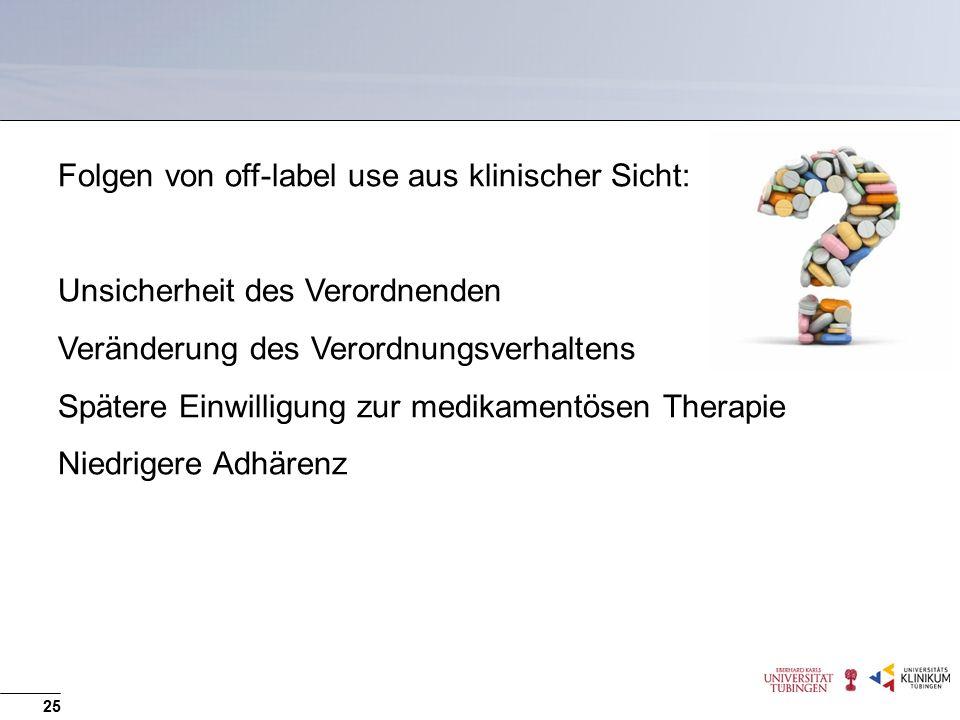 Folgen von off-label use aus klinischer Sicht: Unsicherheit des Verordnenden Veränderung des Verordnungsverhaltens Spätere Einwilligung zur medikamentösen Therapie Niedrigere Adhärenz 25