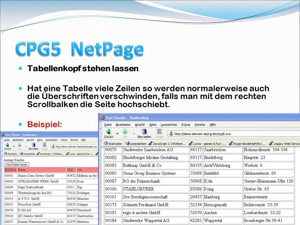 Course Tagung 18.Mai 2009 in Köln 14 Tabellenkopf stehen lassen Hat eine Tabelle viele Zeilen so werden normalerweise auch die Überschriften verschwin