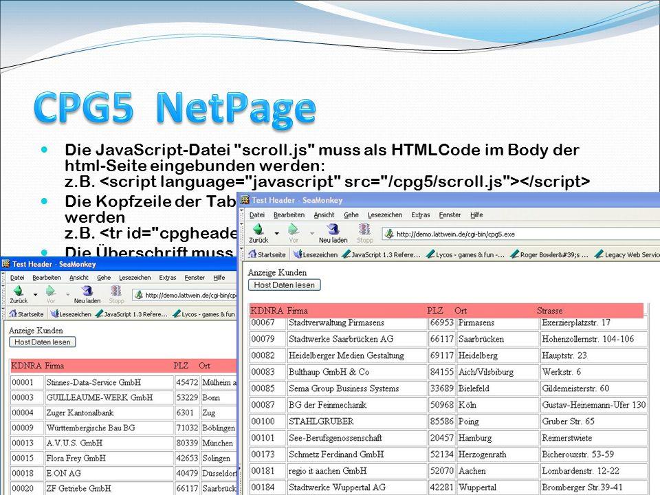 Course Tagung 18.Mai 2009 in Köln 15 Die JavaScript-Datei scroll.js muss als HTMLCode im Body der html-Seite eingebunden werden: z.B.