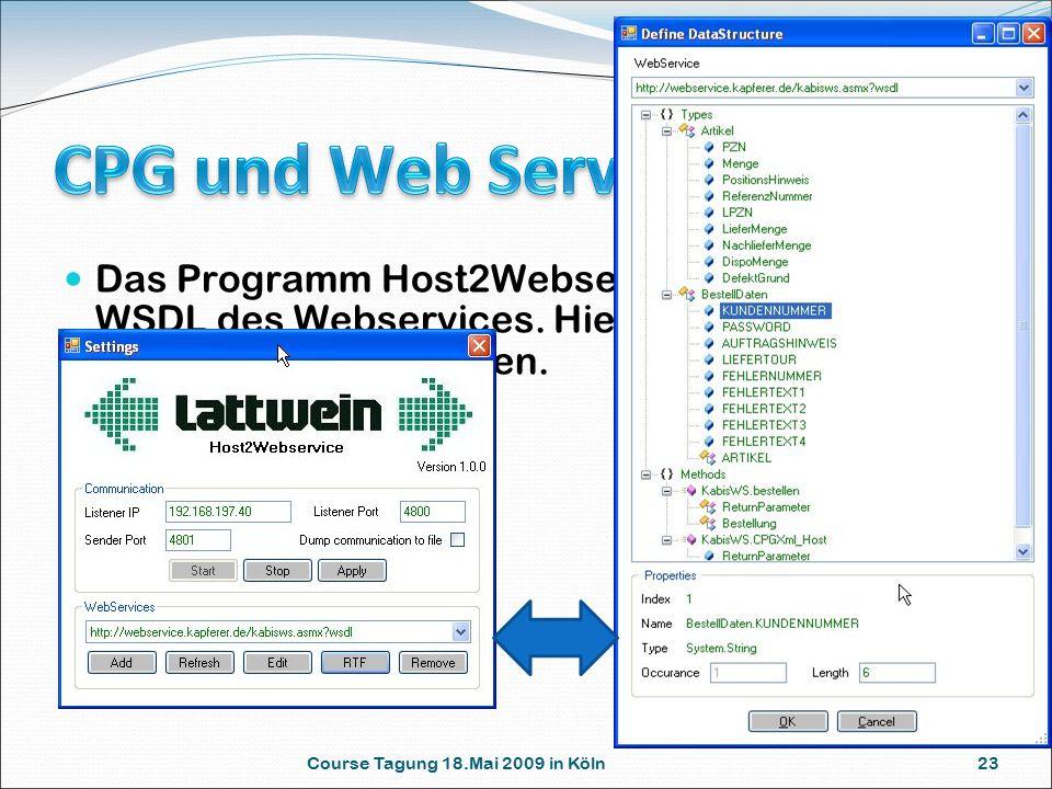 Course Tagung 18.Mai 2009 in Köln 23 Das Programm Host2Webservice definiert die WSDL des Webservices.