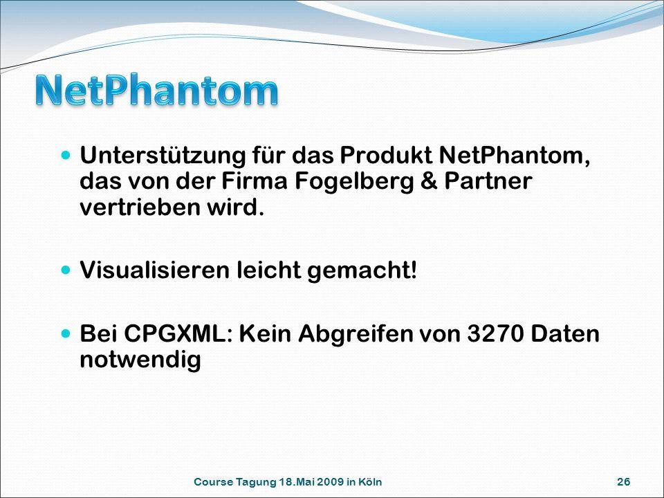 Course Tagung 18.Mai 2009 in Köln 26 Unterstützung für das Produkt NetPhantom, das von der Firma Fogelberg & Partner vertrieben wird. Visualisieren le