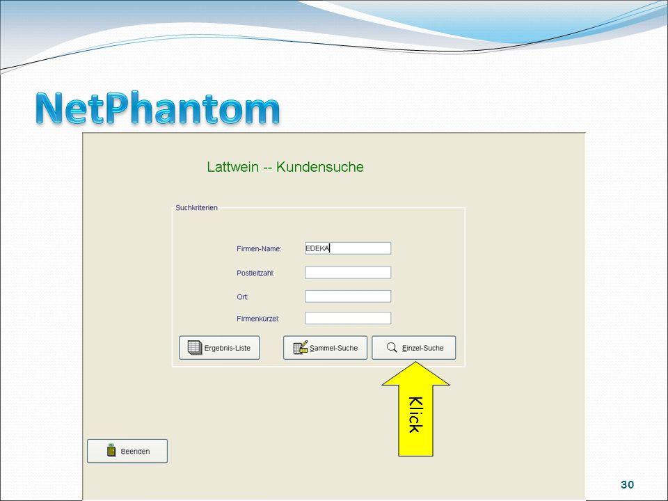 Course Tagung 18.Mai 2009 in Köln 30 Mit NetPhantom wird ein Frame erstellt der die Suchkriterien erfasst. Über Buttons kann jetzt die Einzelsuche ges