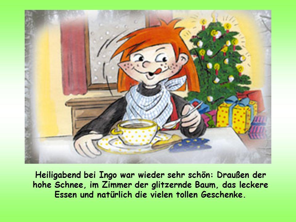 Heiligabend bei Ingo war wieder sehr schön: Draußen der hohe Schnee, im Zimmer der glitzernde Baum, das leckere Essen und natürlich die vielen tollen Geschenke.