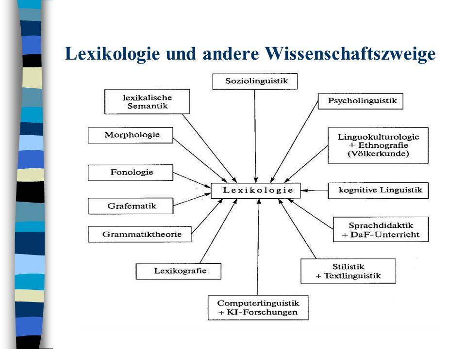 Lexikologie und andere Wissenschaftszweige