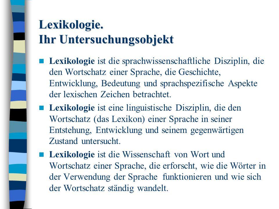 Lexikologie.