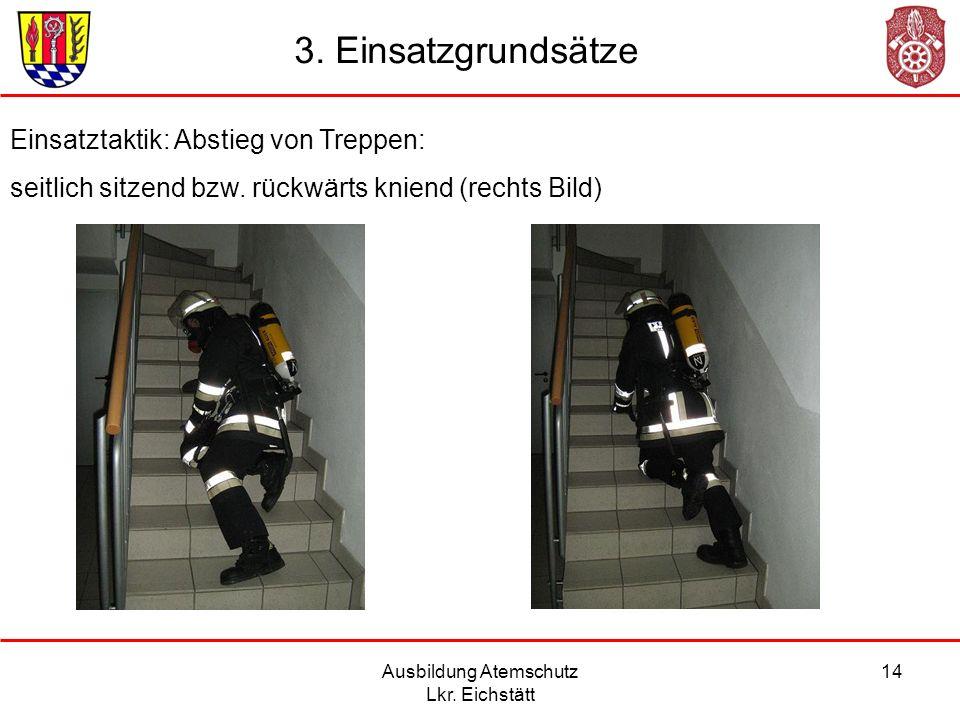 Ausbildung Atemschutz Lkr. Eichstätt 14 Einsatztaktik: Abstieg von Treppen: seitlich sitzend bzw. rückwärts kniend (rechts Bild) 3. Einsatzgrundsätze