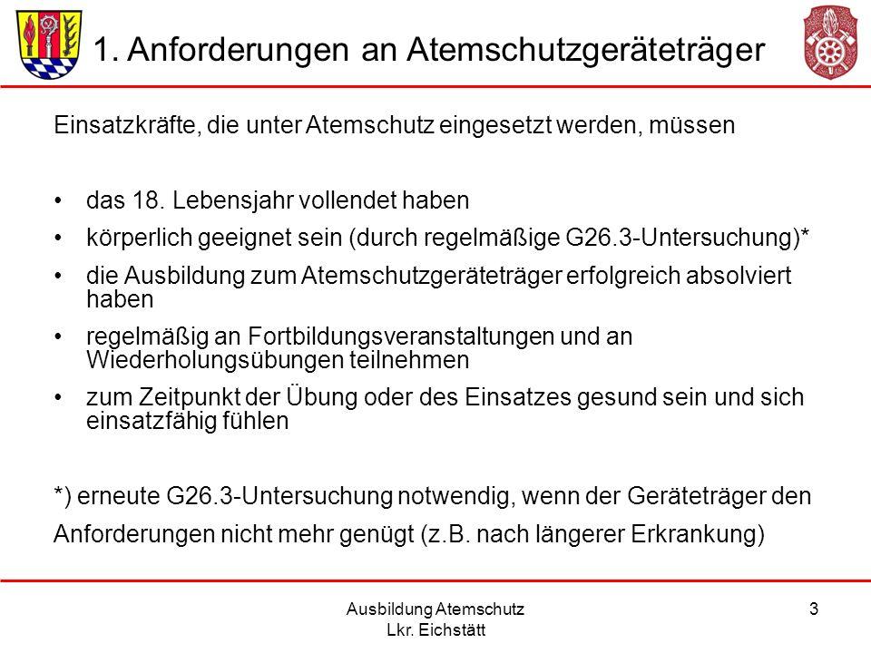 Ausbildung Atemschutz Lkr.Eichstätt 4 G26.3-Untersuchung: bis zum 50.