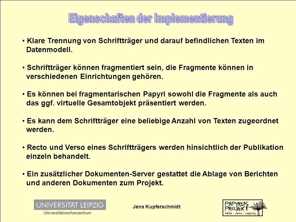 Jens Kupferschmidt Universitätsrechenzentrum Klare Trennung von Schriftträger und darauf befindlichen Texten im Datenmodell.