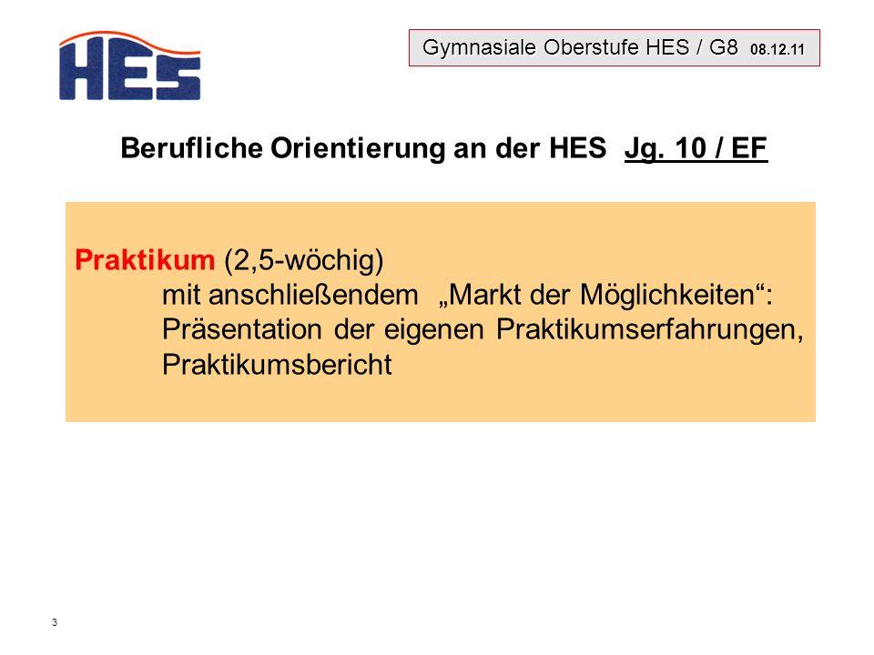 Gymnasiale Oberstufe HES / G8 08.12.11 3 Berufliche Orientierung an der HES Jg.