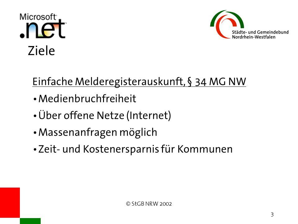 © StGB NRW 2002 3 Ziele Einfache Melderegisterauskunft, § 34 MG NW Medienbruchfreiheit Über offene Netze (Internet) Massenanfragen möglich Zeit- und Kostenersparnis für Kommunen