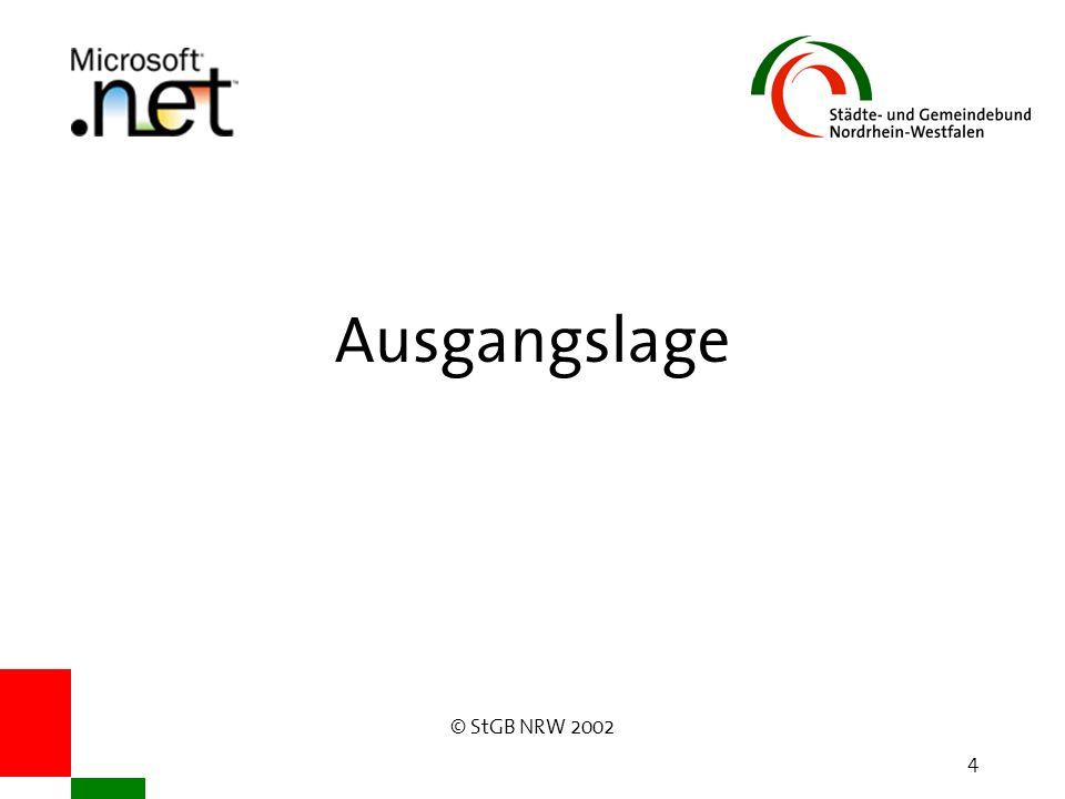© StGB NRW 2002 5 Beteiligte Städte Rees: Kreis Kleve, 21.995 Einwohner Rietberg: Kreis Gütersloh, 28.214 Einwohner Siegburg: Rhein-Sieg-Kreis, 37.865 Einwohner