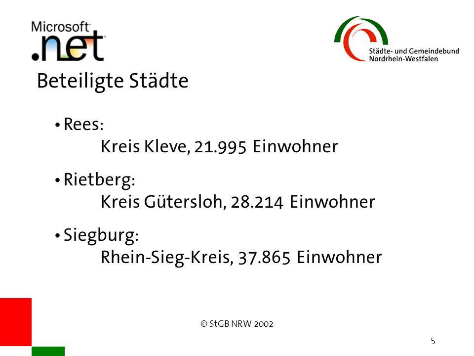 © StGB NRW 2002 5 Beteiligte Städte Rees: Kreis Kleve, 21.995 Einwohner Rietberg: Kreis Gütersloh, 28.214 Einwohner Siegburg: Rhein-Sieg-Kreis, 37.865