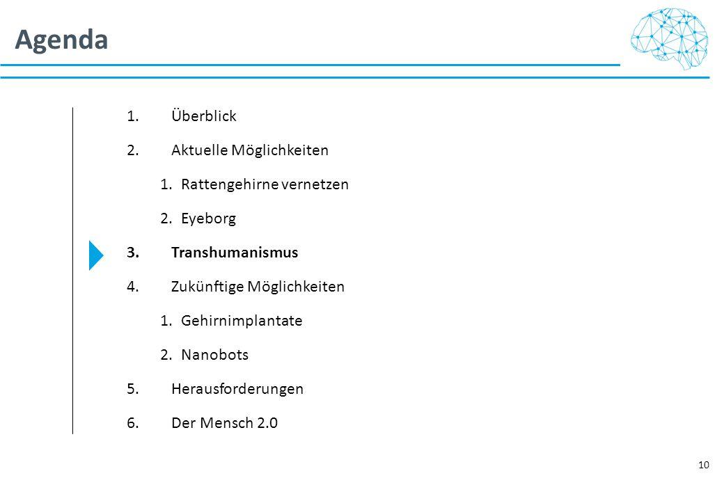 Agenda 10 1.Überblick 2.Aktuelle Möglichkeiten 1.Rattengehirne vernetzen 2.Eyeborg 3.Transhumanismus 4.Zukünftige Möglichkeiten 1.Gehirnimplantate 2.N