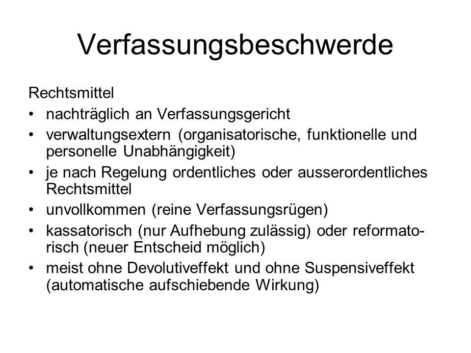 Verfassungsbeschwerde Rechtsmittel nachträglich an Verfassungsgericht verwaltungsextern (organisatorische, funktionelle und personelle Unabhängigkeit)