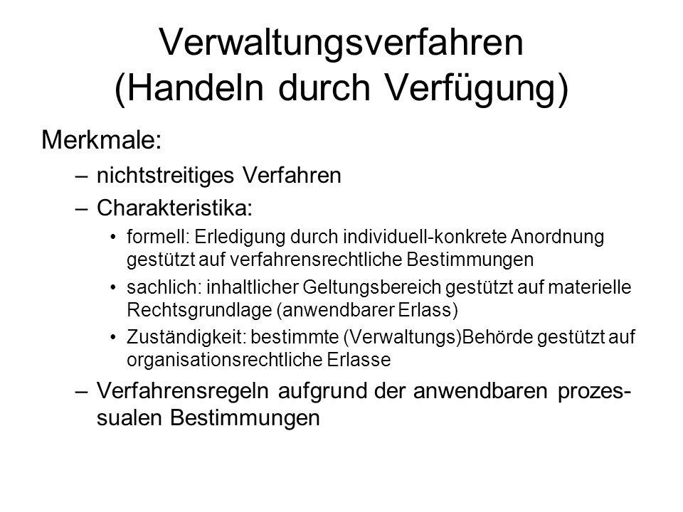 Verwaltungsverfahren (Handeln durch Verfügung) Merkmale: –nichtstreitiges Verfahren –Charakteristika: formell: Erledigung durch individuell-konkrete A