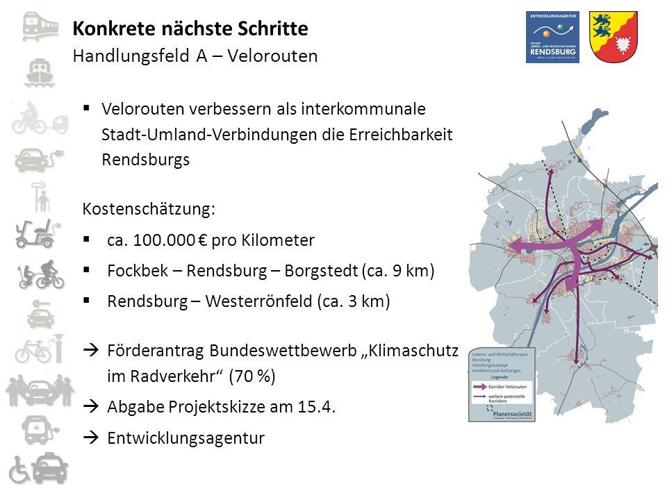 Handlungsfeld A – Velorouten  Velorouten verbessern als interkommunale Stadt-Umland-Verbindungen die Erreichbarkeit Rendsburgs Kostenschätzung:  ca.