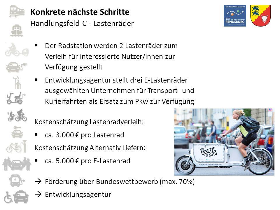 Handlungsfeld C - Lastenräder  Der Radstation werden 2 Lastenräder zum Verleih für interessierte Nutzer/innen zur Verfügung gestellt  Entwicklungsag