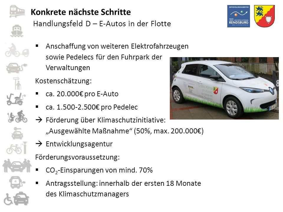Handlungsfeld D – E-Autos in der Flotte  Anschaffung von weiteren Elektrofahrzeugen sowie Pedelecs für den Fuhrpark der Verwaltungen Kostenschätzung: