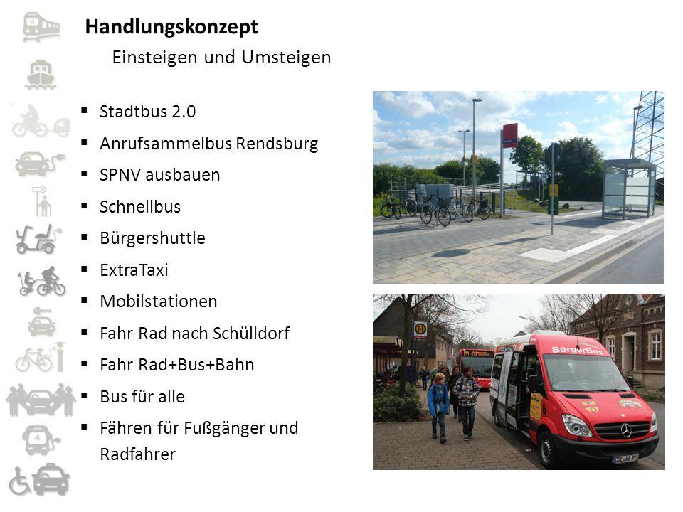 Handlungskonzept Einsteigen und Umsteigen  Stadtbus 2.0  Anrufsammelbus Rendsburg  SPNV ausbauen  Schnellbus  Bürgershuttle  ExtraTaxi  Mobilst