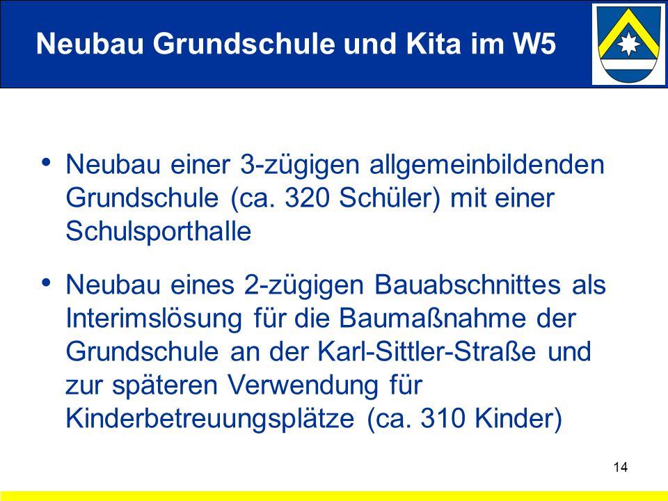 Neubau Grundschule und Kita im W5 Neubau einer 3-zügigen allgemeinbildenden Grundschule (ca.