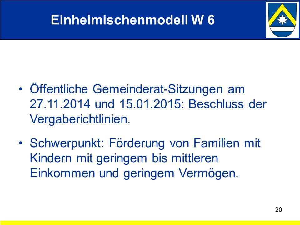 Einheimischenmodell W 6 Öffentliche Gemeinderat-Sitzungen am 27.11.2014 und 15.01.2015: Beschluss der Vergaberichtlinien.