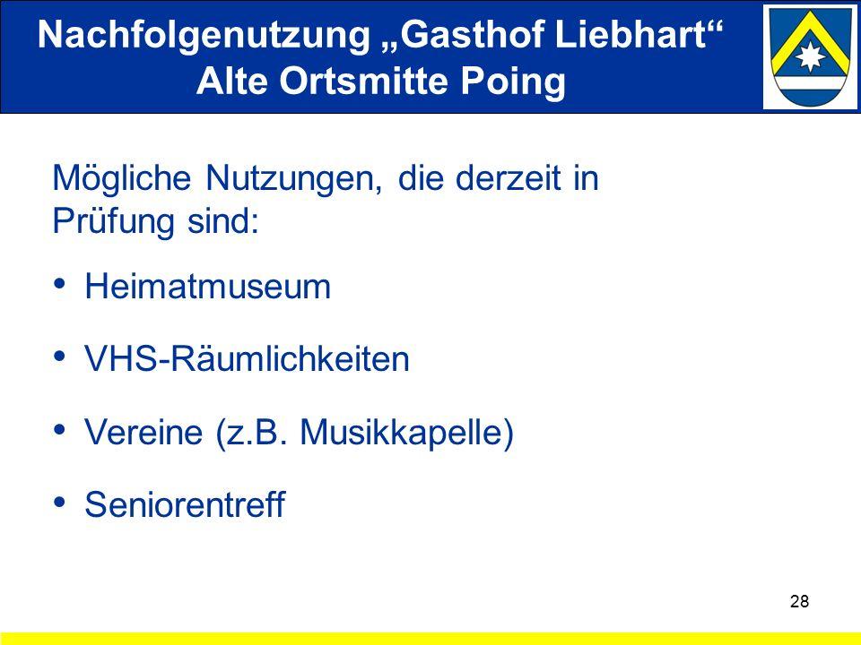 """Nachfolgenutzung """"Gasthof Liebhart Alte Ortsmitte Poing Mögliche Nutzungen, die derzeit in Prüfung sind: Heimatmuseum VHS-Räumlichkeiten Vereine (z.B."""