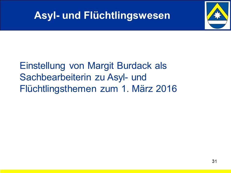 Einstellung von Margit Burdack als Sachbearbeiterin zu Asyl- und Flüchtlingsthemen zum 1.