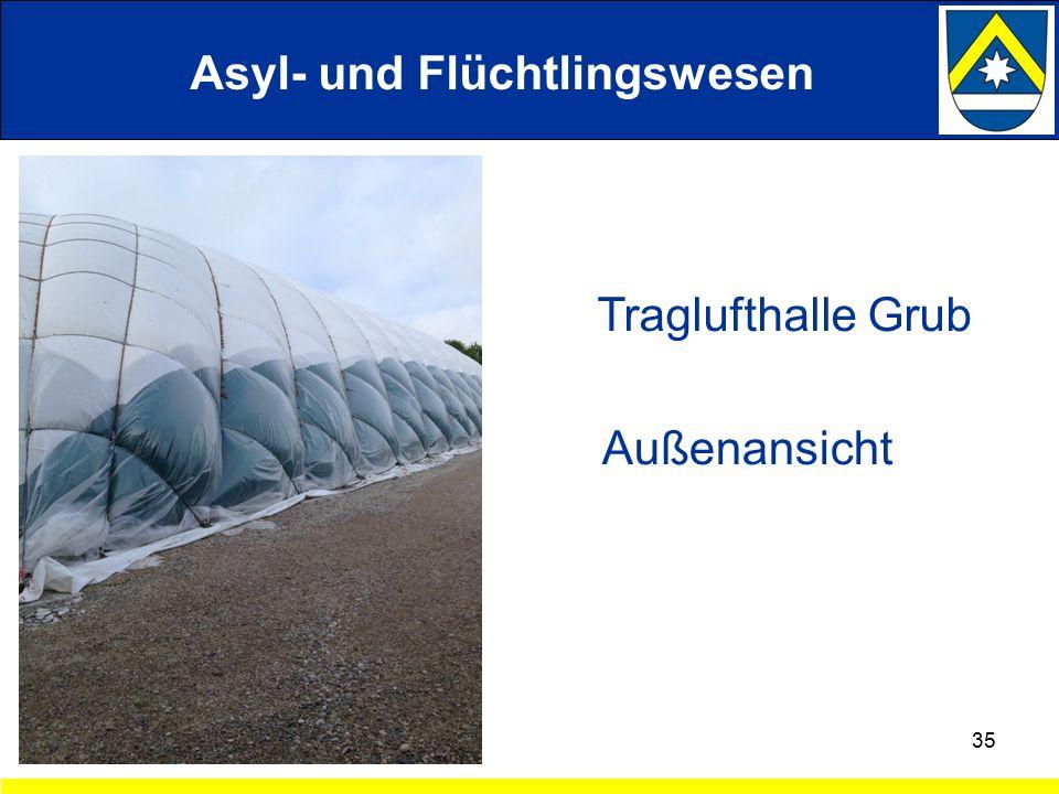 35 Traglufthalle Grub Außenansicht Asyl- und Flüchtlingswesen
