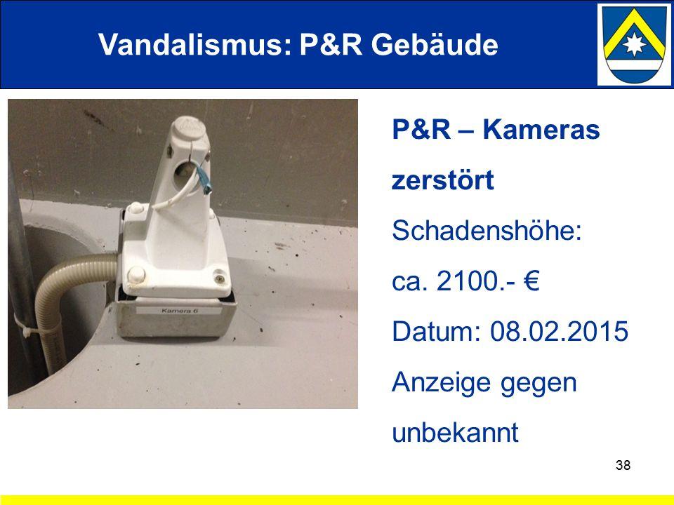 Vandalismus: P&R Gebäude 38 P&R – Kameras zerstört Schadenshöhe: ca.