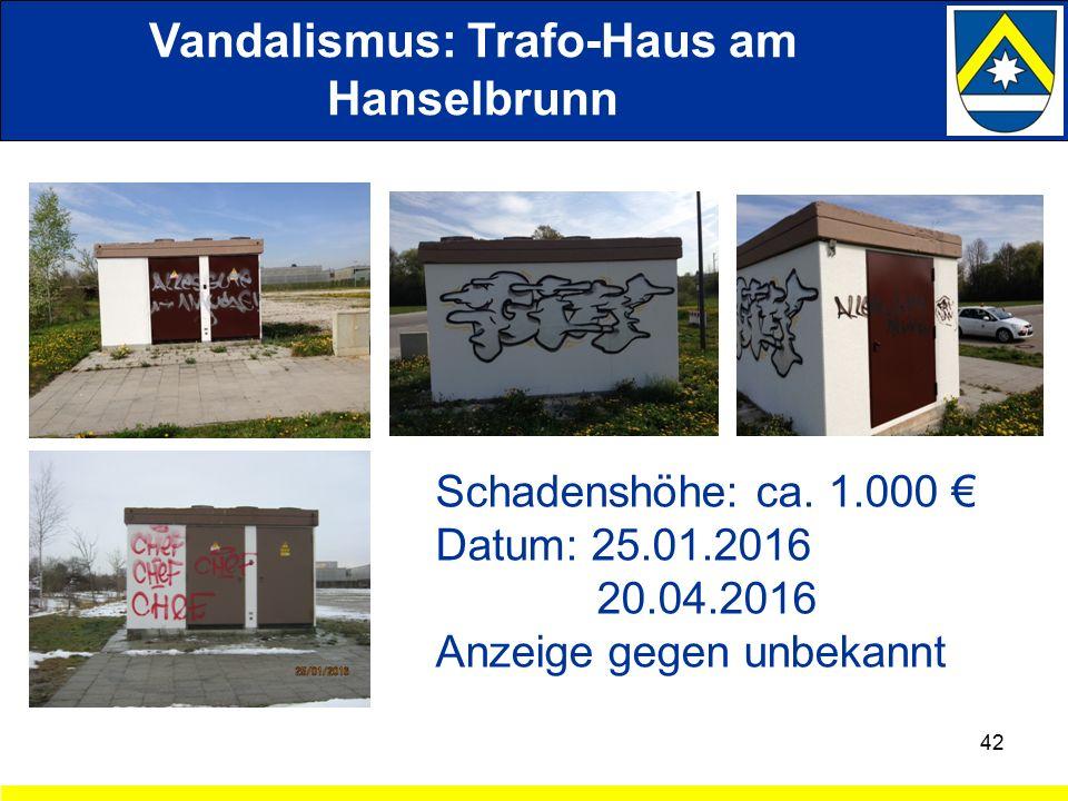 Vandalismus: Trafo-Haus am Hanselbrunn 42 Schadenshöhe: ca.