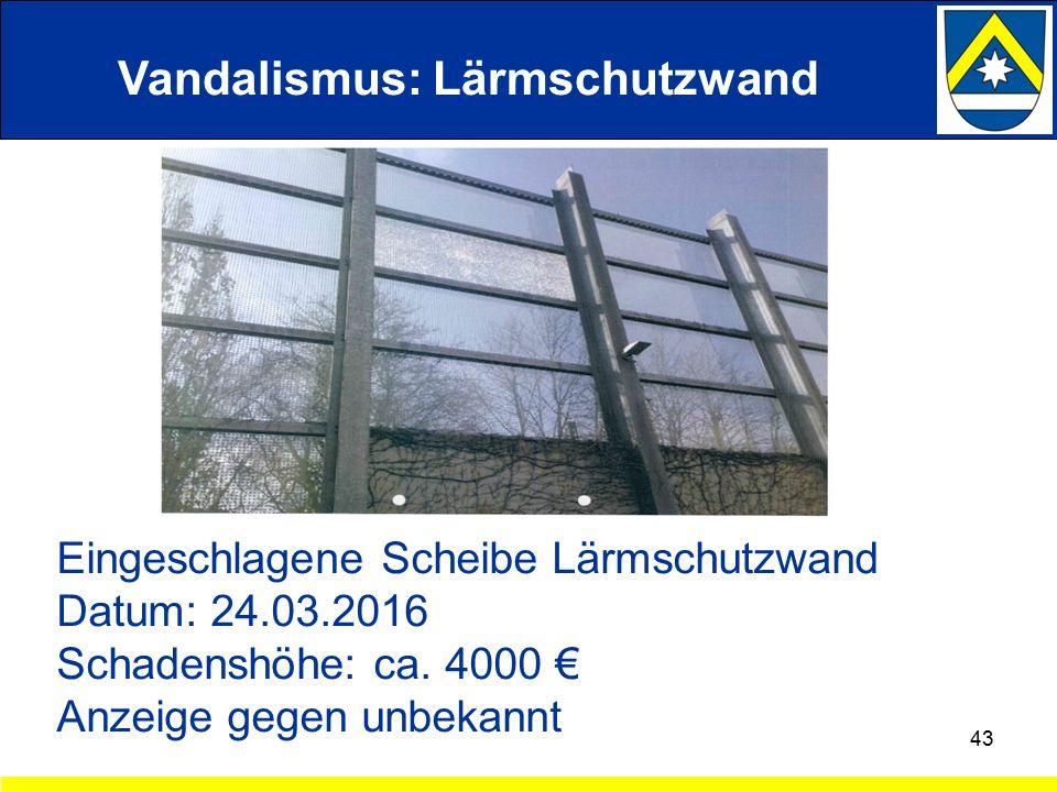 Vandalismus: Lärmschutzwand 43 Eingeschlagene Scheibe Lärmschutzwand Datum: 24.03.2016 Schadenshöhe: ca.