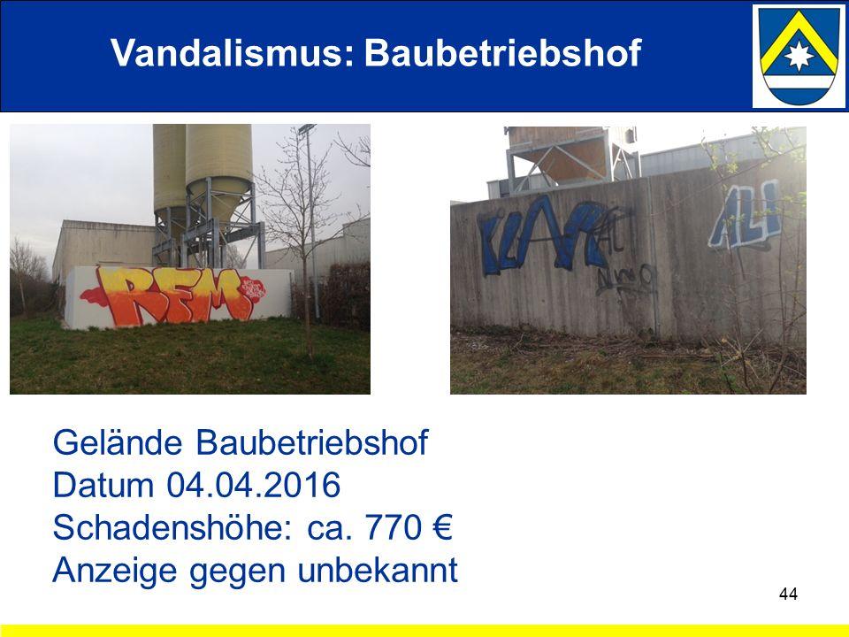 Vandalismus: Baubetriebshof 44 Gelände Baubetriebshof Datum 04.04.2016 Schadenshöhe: ca.
