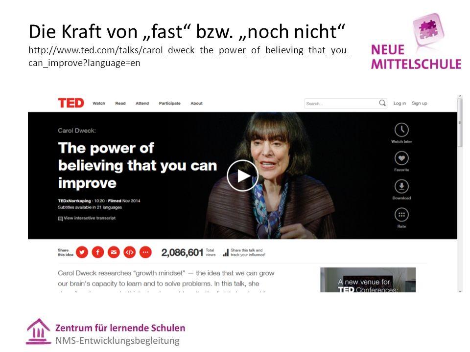 """Die Kraft von """"fast"""" bzw. """"noch nicht"""" http://www.ted.com/talks/carol_dweck_the_power_of_believing_that_you_ can_improve?language=en"""