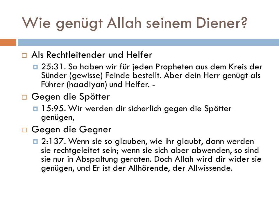 Wie genügt Allah seinem Diener.  Als Rechtleitender und Helfer  25:31.