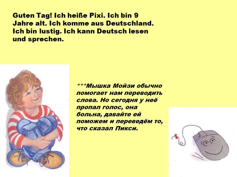 Guten Tag. Ich heiße Pixi. Ich bin 9 Jahre alt. Ich komme aus Deutschland.