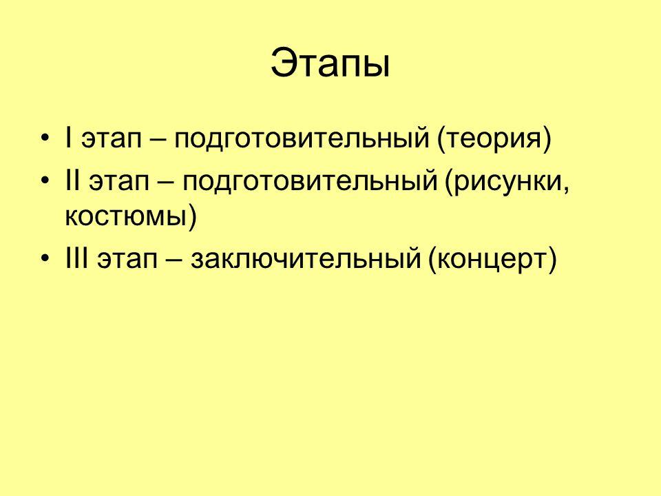 Этапы I этап – подготовительный (теория) II этап – подготовительный (рисунки, костюмы) III этап – заключительный (концерт)